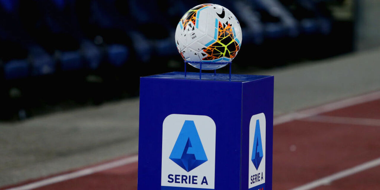 ROME, ITALY - JULY 23: A detail of the Lega Serie A ball during the Serie A match between SS Lazio and Cagliari Calcio at Stadio Olimpico on July 23, 2020 in Rome, Italy.  (Photo by Paolo Bruno/Getty Images)