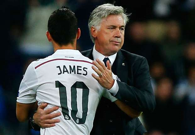 Carlo Ancelotti e James Rodríguez ai tempi del Real Madrid (ph. social)