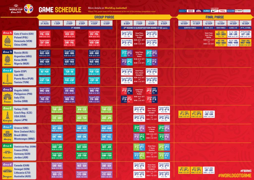 FIBA World Cup - Schedule - 2019